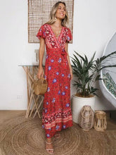 Load image into Gallery viewer, Boho Lace-up V-neck Printed Maxi Dresses