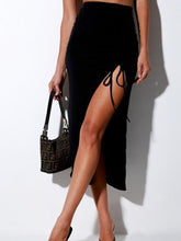 Load image into Gallery viewer, Women's Summer High Waist Slit Drawstring Bag Hip Slim Bottoming Skirt