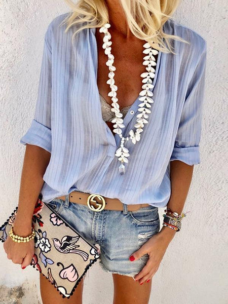 Fashion Button V-Neck Long Sleeve Blouse Shirt