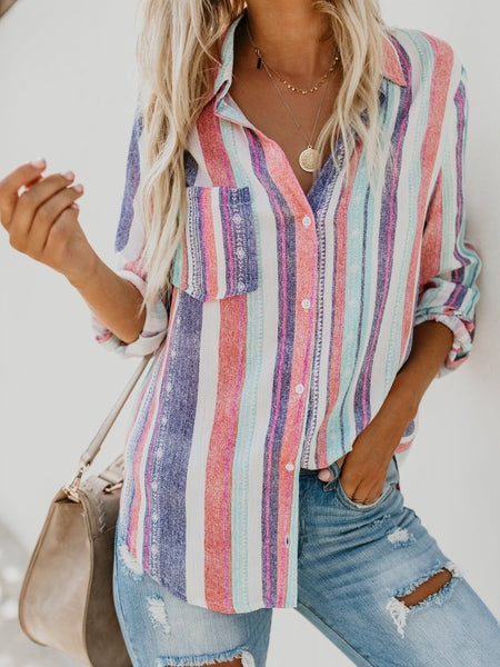 Fashion Colorful Striped Plus Size Long Sleeve Shirt
