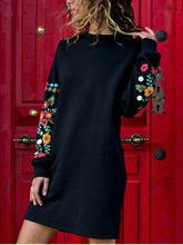 Load image into Gallery viewer, Round Neck Floral Long Sleeve Mini Dress