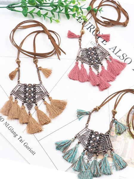 Vintage Boho Bohemian Ethnic Statement Tassel Pendant Necklace