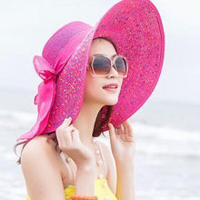 Load image into Gallery viewer, Large Brim Dots Floppy Hat Sun Hat Beach Women Hat Foldable Summer UV Protect Travel Casual Hat Female