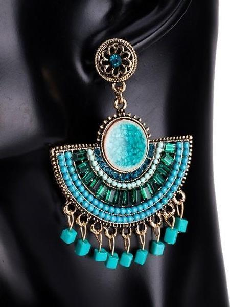 Elegant Bohemian Tassel Beads dangle Earrings Vintage Jewelry