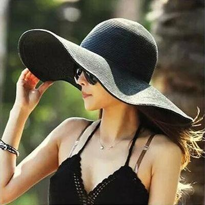 Solid Color Fashion Seaside Sun Visor Hat Large Brimmed Straw Sun Hat Folding Beach Hat