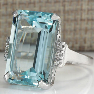 Chic Big Ocean Blue Crystal Engagement Rectangle Transparent Ring Jewelry