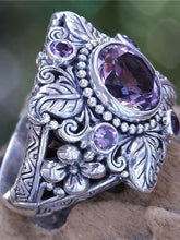 Load image into Gallery viewer, Vintage Boho Flower Purple Crystal Finger Ring Bohemian Jewelry