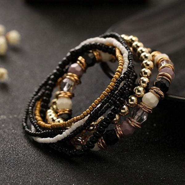 7 Pcs Set Four Seasons Bohemian Multi-layer Beaded Jewelry Elastic Bracelet
