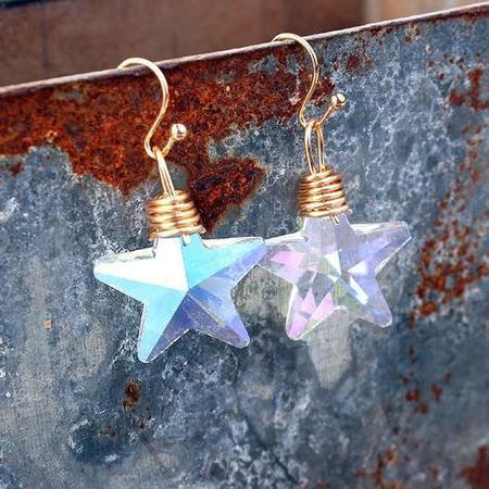 Bling Crystal Magic Moon Eardrop Pendant Handmade Wire Earrings