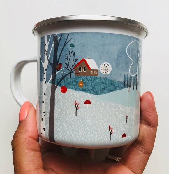 Woodland Christmas camping cup