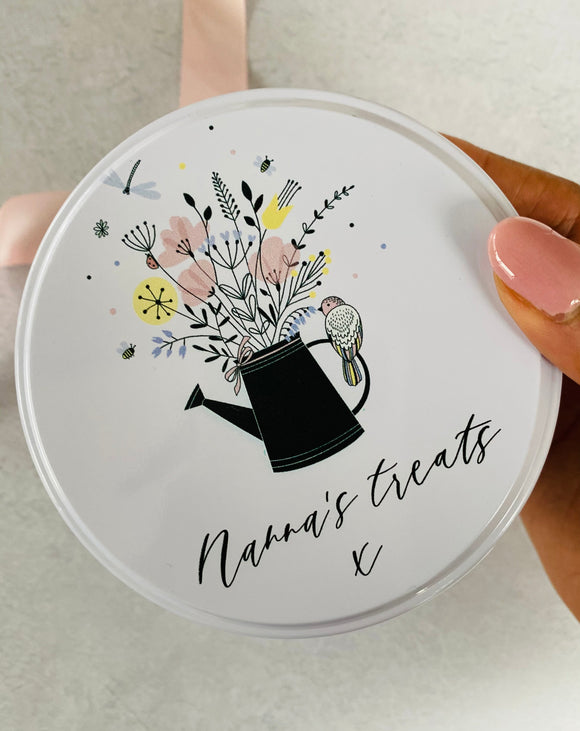 Personalised floral tin