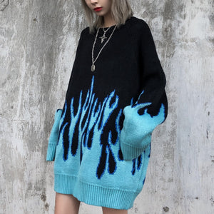 Flame Crew Neck Knitwear Jacquard Women's Sweater Hip Hop Sweater Pullover Hipster Sweater Woman Clothing
