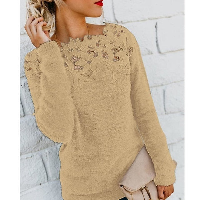 Women Autumn Winter Fleece Pullover Sexy Lace Hollow Out Plush Sweater Slash Neck Knitted Sweater Plus Size Tops Casual Jumpers
