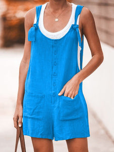 Cotton Linen Women Rompers Button Pocket Ladies Playsuits Sexy Backless Straps Tank Short Jumpsuits Summer Casual Loose Overalls