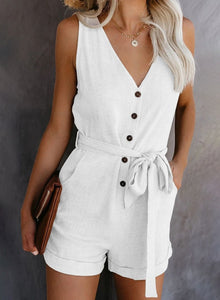 Women Casual Lace Up Playsuits 2020 Summer V Neck Sleeveless Button Jumpsuit Solid Plus Size Romper Elegant Tunic Short Overalls