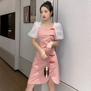 Korea Retro Dress Women Fashion Slim cheongsam Plaid Party Dresses Lady Summer Package Hip Split Bodycon Dress Vestidos