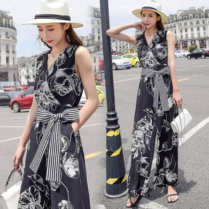 YASUGUOJI Women's Boho Sleeveless V Neck Flower Printed Jumpsuit with Belt 2020 Ladies Holiday Party Long Pants Jumpsuit Romper