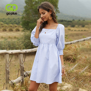 Summer Mini Dress Square Collar Half Puff Sleeve Plus Size Striped Woman Dress Vestidos Kobieta Sukienka Vestido De Mujer