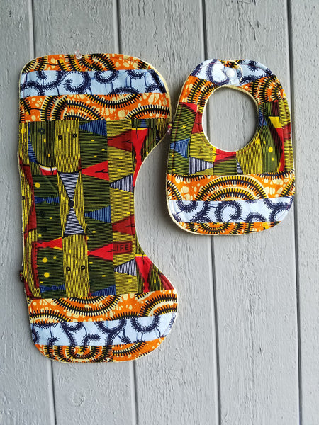 African Highlife Baby Bib and Burp Cloth Set