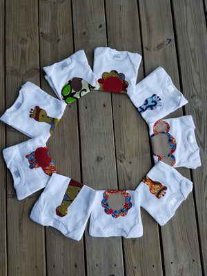 Hippo Appliqué Bodysuit (Red & Blue)