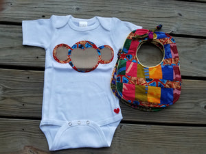 Majestic Monkey Appliqué Bodysuit (Red and Blue)