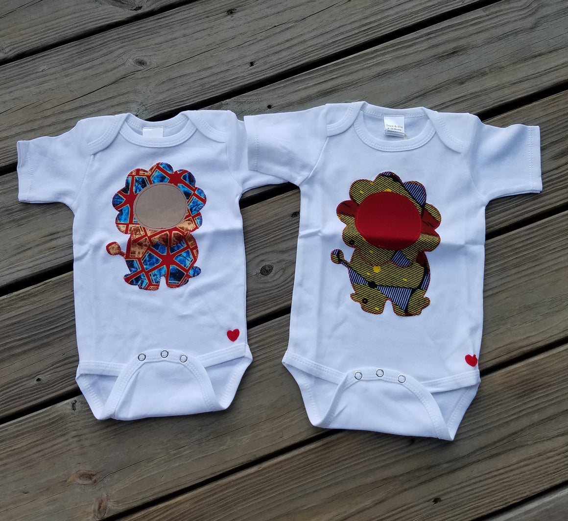 King of the Jungle Lion Appliqué Bodysuit (Red and Blue Lion )
