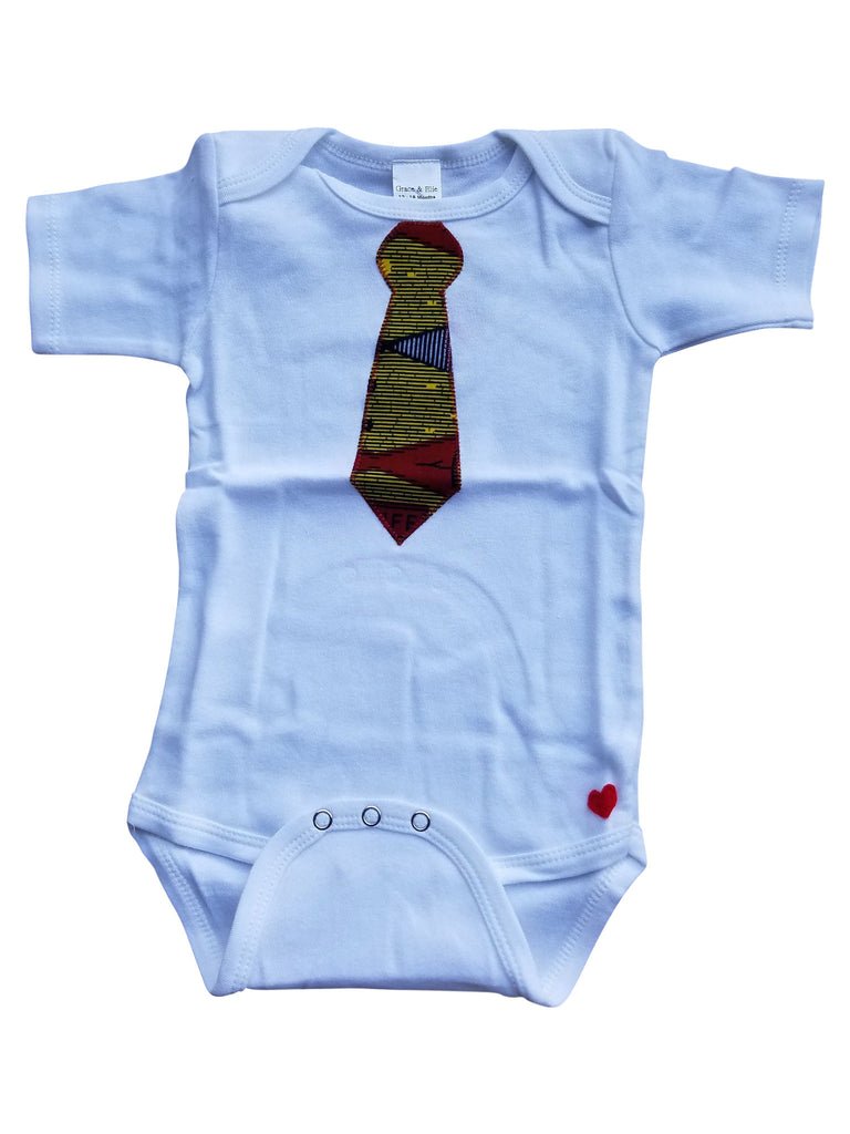 Bow Tie Appliqué Bodysuit (Yellow and Red)