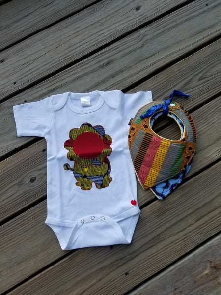 King of the Jungle Lion Appliqué Bodysuit (Yellow and Red Lion )