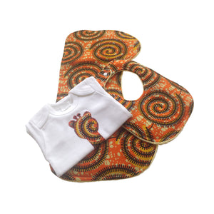 3-Piece Welcome Home Gift Set: Majestic Giraffe Appliqué Bodysuit, Baby Bib and Burp Cloth (Orange)