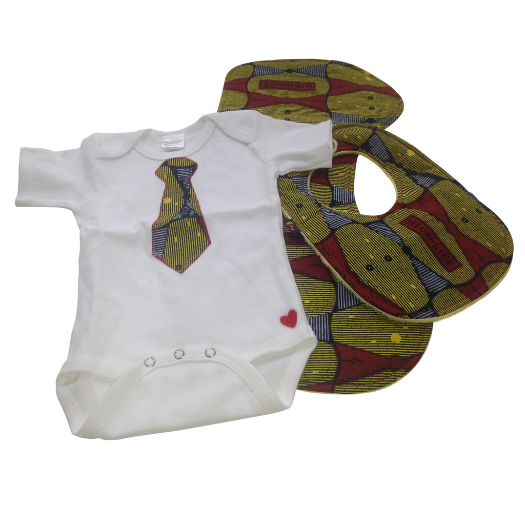 3-Piece Welcome Home Gift Set: Little Gent Tie Appliqué Bodysuit, Baby Bib and Burp Cloth (Yellow & Red)