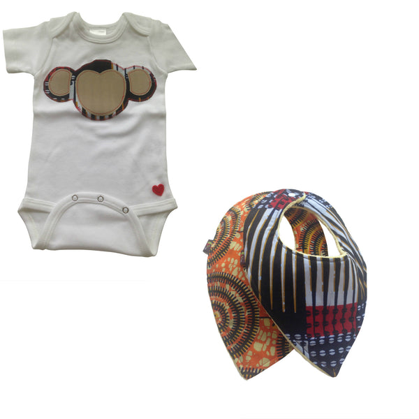 3-Piece Welcome Home Gift Set: Terrific Monkey Appliqué Bodysuit and Heart-Shaped Baby bibs (Navy & Tan)
