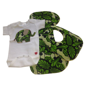 3-Piece Single Elephant Appliqué Bodysuit, Baby Bib and Burp Cloth Set (Green)