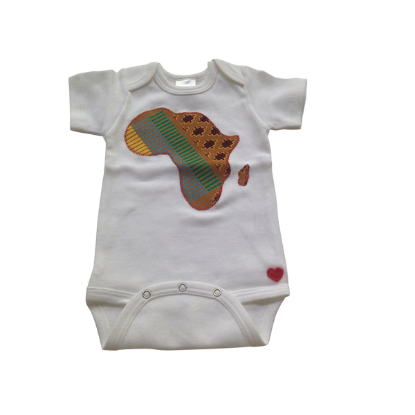 African Map Appliqué Bodysuit ( Tan)