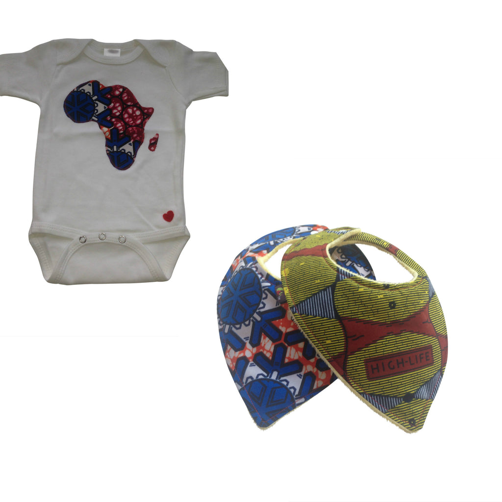 3-Piece Welcome Home Gift Set: African Map Appliqué Bodysuit and Heart-Shaped Baby Bib Set (Blue)