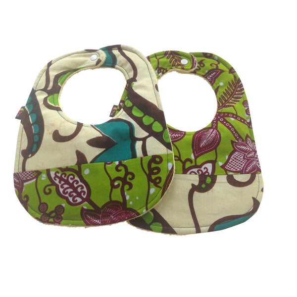 Garden Patchwork 2-Pack African Print Baby Bib Set (Limited Edition)