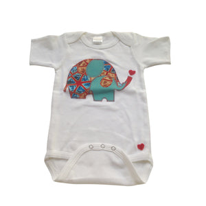 Eliephantastic Grace & Elie Appliqué Bodysuit (Red & Blue)