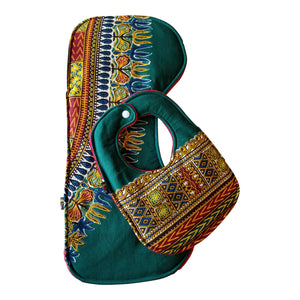 Green Dashiki Baby Bib and Burp Cloth Set