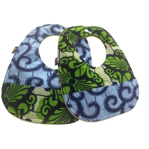 Green Forest Patchwork 2-Pack African Print Baby Bib Set (Limited Edition)