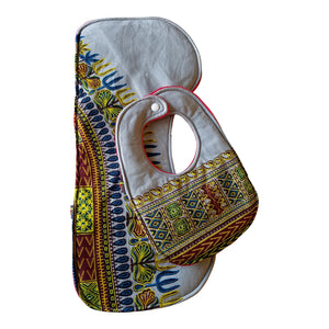 Grey Dashiki Baby Bib and Burp Cloth Set