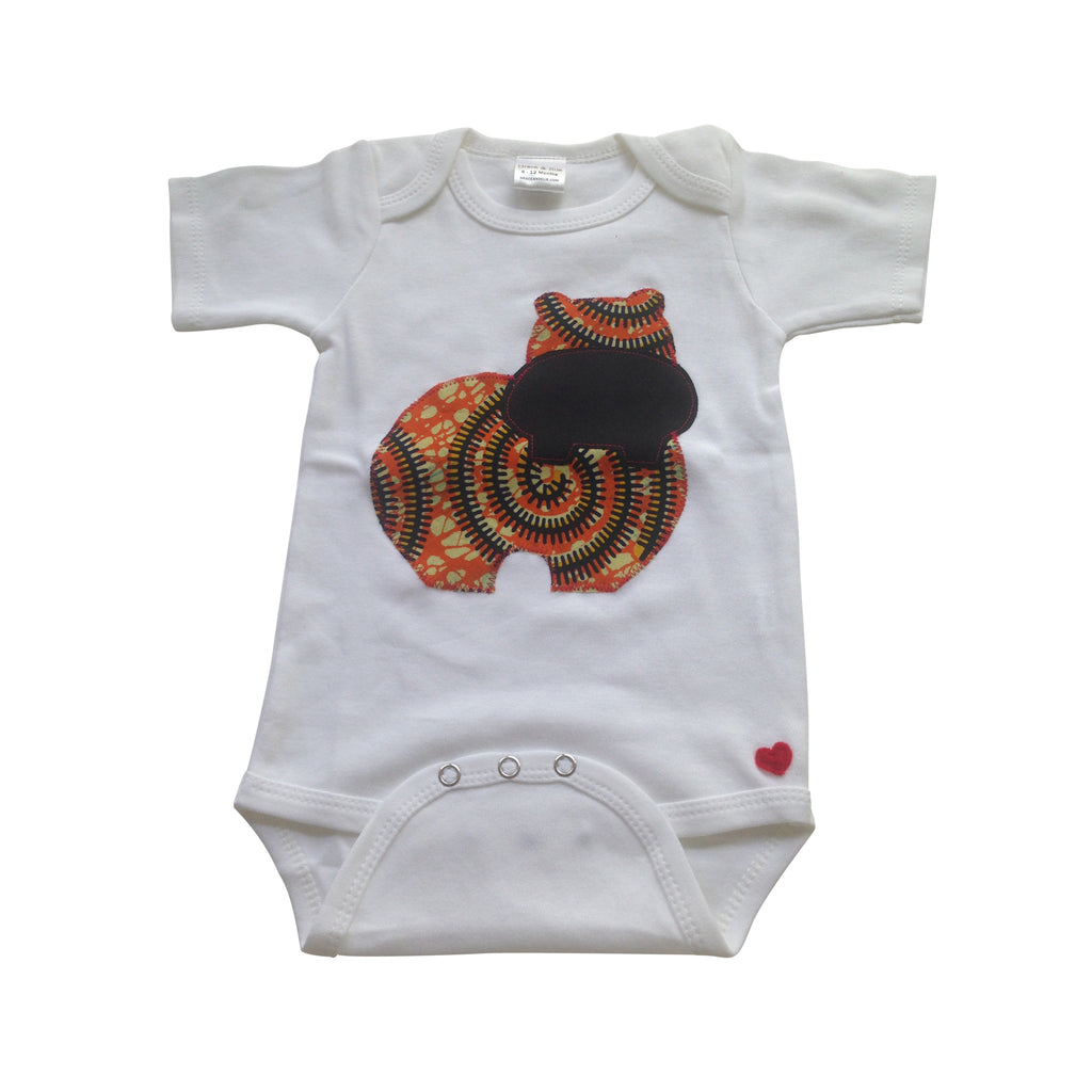 Hippo Appliqué Bodysuit (Orange)