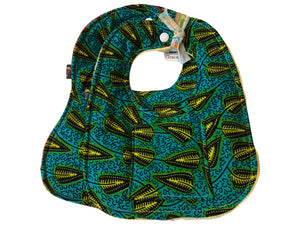 Nana Green African Print 2-PC Baby Bib Set (Pocketed Edition)