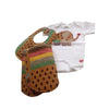 3-Piece Welcome Home Gift Set: Eliephantastic Grace & Elie Appliqué Bodysuit, Baby Bib and Burp Cloth (Tan & Multi)