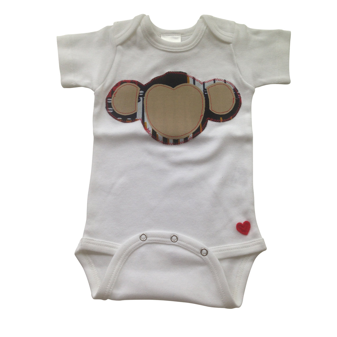 3-Piece Welcome Home Gift Set: Terrific Monkey Appliqué Bodysuit, Baby Bib and Burp Cloth (Navy & Tan)