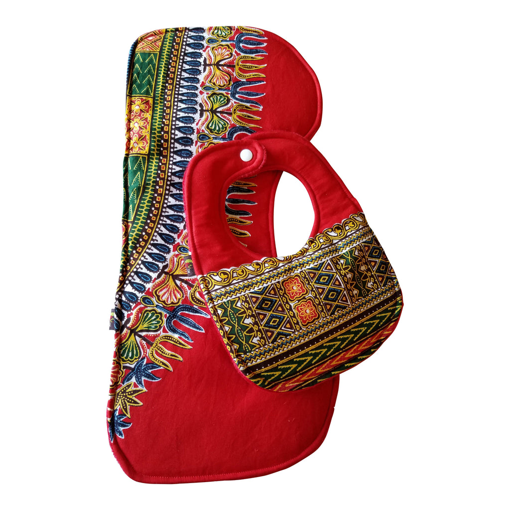 Red Dashiki Baby Bib and Burp Cloth Set