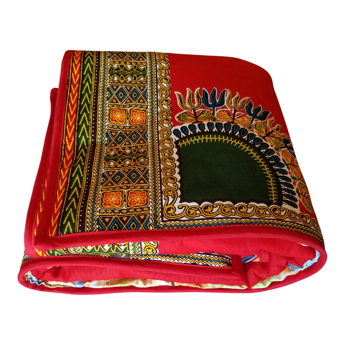 Red Dashiki Reversible Baby Blanket