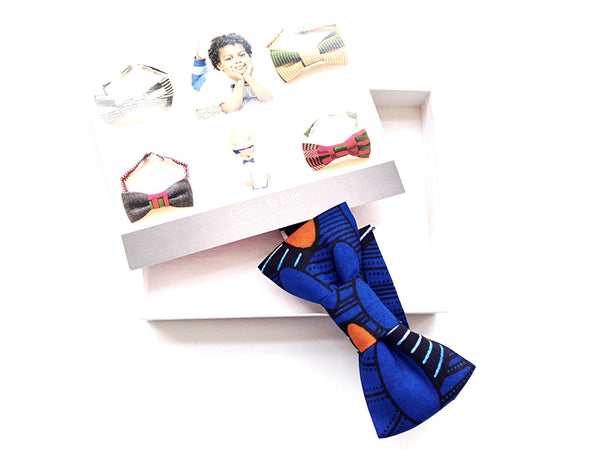 Bow Ties - Boys' Cotton Bow Tie (Blue Rhythm)