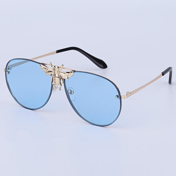 Metal bee sunglasses European and American fashion sunglasses(No degree)