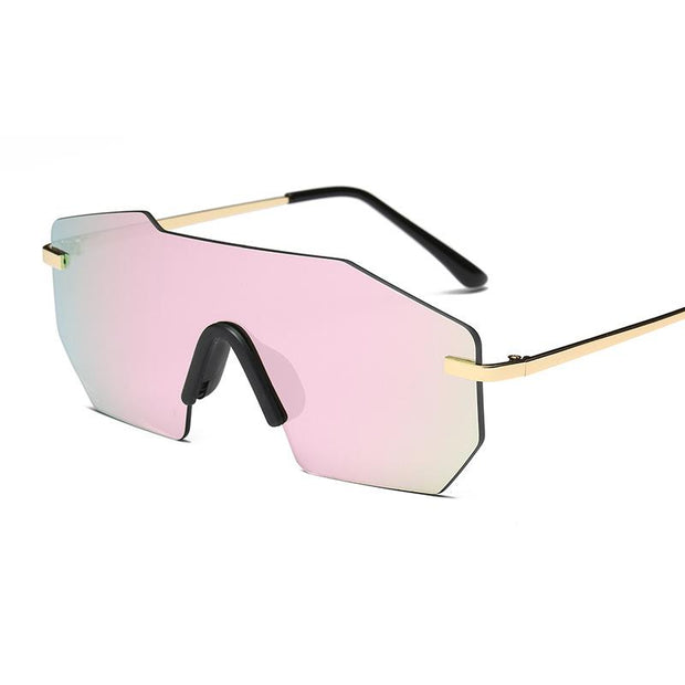 One-piece frameless sunglasses men and women personality sunglasses (no degree)