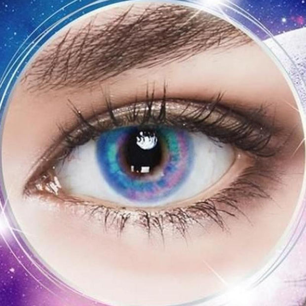 Starry sky blue. Red. Green (12 months) contact lenses