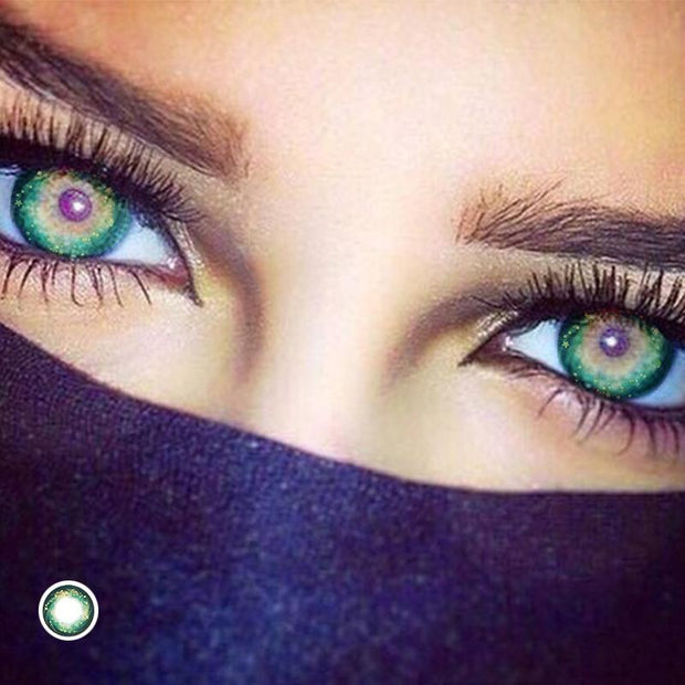 Starry sky. Green gypsophila (12 months) contact lenses